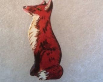 Red Fox Jewelry Pin - handcarved and handpainted