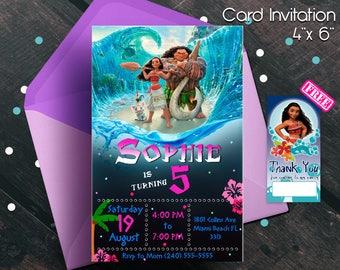 Moana Invitation, Moana birthday invitation, Moana party, Moana birthday, Moana invitations, Moana, invitations, free thank you notes, free