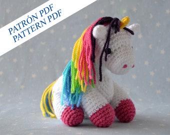 PDF Patrón amigurumi unicornio, patrón español, patrón inglés, patrón castellano, patrón unicornio ganchillo