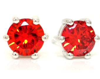 Red Stud Earrings, Red Stud, Red Crystal Earrings, Red Round Gem, 925 Sterling Silver, Fire Red Earrings, Red Gem, Fire Red Gem, Gift Box