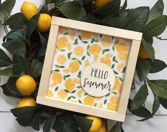 Hello Summer Lemon Wood sign