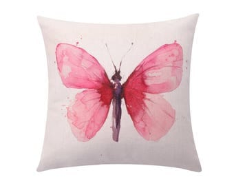 Watercolor butterfly throw pillow covers Spring butterfly decorative pillow case Butterfly cushion cover Sofa cushion case Home decor 18x18
