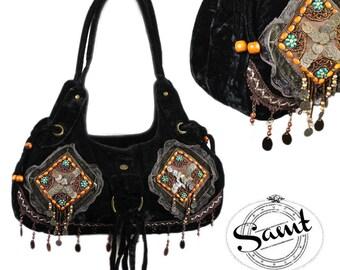 Vintage Shabby Chic romantic velvet sequined coin bag black