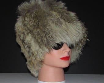 "superbe et riche  bandeau de véritable fourrure de coyote/Superb and rich real coyote fur headband  22""-23""  X 7"" approx."