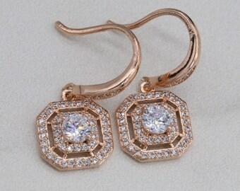 Vintage Style Drop Earrings/Rose Gold Earrings/Sterling Silver Bridal earrings/Wedding Jewelry E007