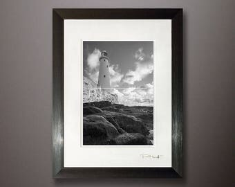 Seascape framed print, fine art image, Black white, Lighthouse photo, Whitley Bay, North East Seascape, water reflection, rock pool shot