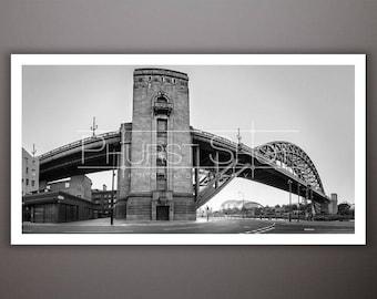 Newcastle Tyne Bridge print, Cityscape black white image, panoramic urban photography shot, quayside photo, fine art abstract print