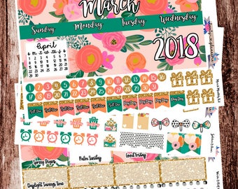 March Monthly Kit, EC Stickers, March Sticker Kit, Planner Stickers, Stickers for Use with Erin Condren Life Planners