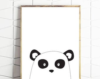 80% OFF panda printable, nordic art, scandinavian print, printable art, kids bear art, panda wall decor, panda home art