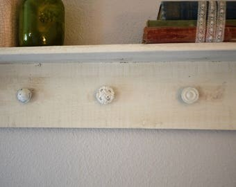 White Shelf with knobs