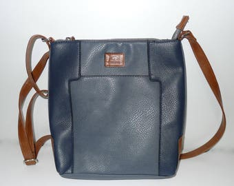 Roots 73  gray/blue cross body faux leather bag purse   - zip closure