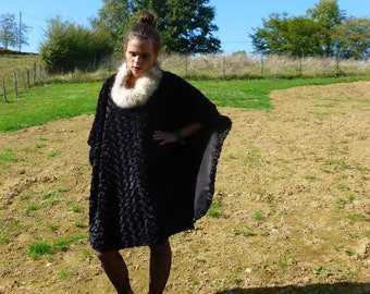 Poncho made of imitation fur Astrakhan with its genuine fox fur collar and faux fur collar
