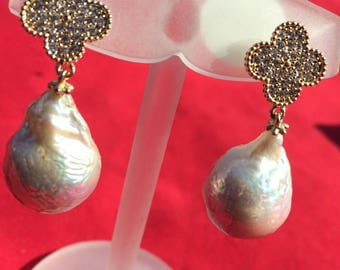 14k Gold, Baroque pearls and Crystals earrings