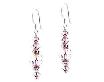 Light Rose Sterling Silver Swarovski Crystal Earrings