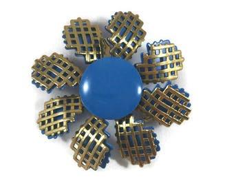 Vintage Blue Gold Waffle Brooch, Vintage Blue Brooch, Vintage Jewelry, Retro Brooch, Retro Floral Brooch, Retro Waffle Pin, Retro Blue Pin