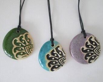 turquoise pendant, ceramic pendant necklace, green ceramic necklace, pottery handmade, bohemian pendant, ceramic jewelry, ethnic pendants