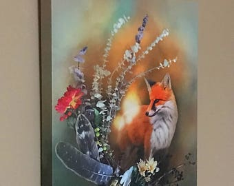 "Fox Fall Magic by Leanne Peters 11"" x 14"" Canvas Gallery Wrapped Print - Fox Art - Fall Art - Fantasy Art"