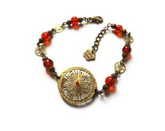 """Bracelet steampunk vintage victorien engrenage coq de montre perle de verre rouge, """"Duchesse"""""""