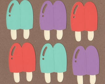 6 - 3 inch tall Popsicle Die Cuts for Paper Crafts Set 20