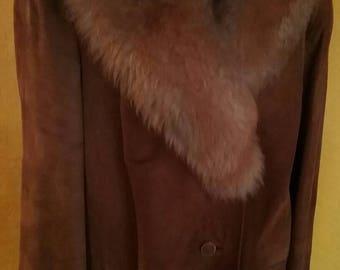 70s fantastic tan suede sheepskin collar coat 14/16