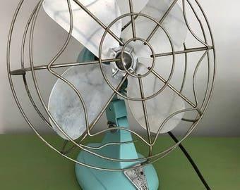 Vintage Eskimo Tabletop Fan in Tiffany Blue