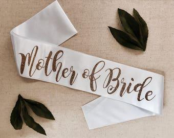 Mother of the Bride Sash, glitter sash, bachelorette party sash, bridal party sash, hen party sashes, wedding party
