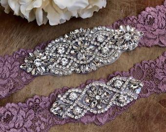 Purple Bridal Garter, Wedding garter, Elegent antique Wedding Garter Set NO SLIP grip vintage rhinestones bridal garter