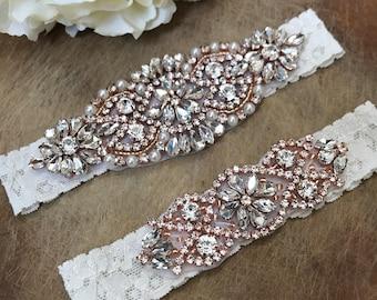 Crystal Rose Gold Ivory Wedding Garter Set NO SLIP grip vintage rhinestones