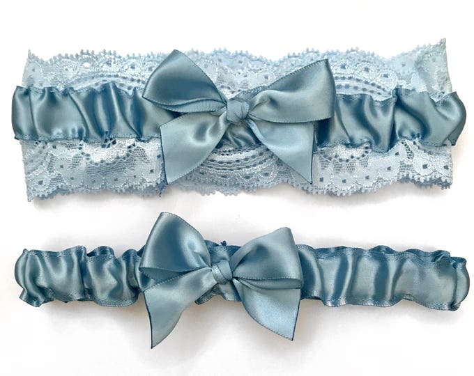 Classic Wedding Garter, satin garter set, Wedding Garter Set, bridal garter set, vintage something blue