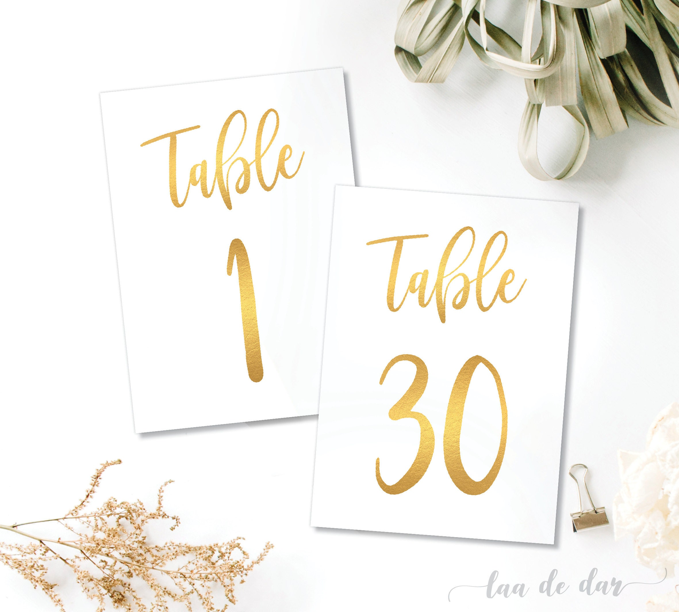 5x7 4x6 gold table numbers 1 30 instant download printable