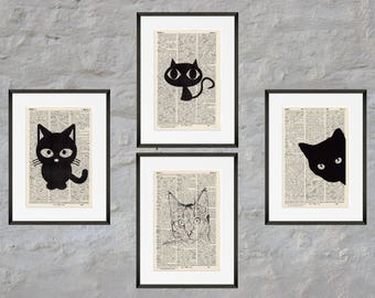 Prints set of 4 - cats - antique book page