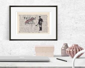 Print BANKSY - follow your dreams - antique book page - landscape
