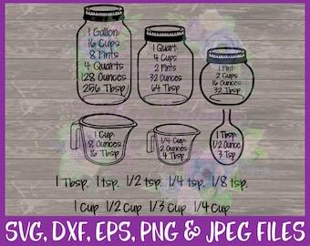 Kitchen SVG, Kitchen Decor SVG, Cutting Board SVG, Measurements Svg, Conversion Svg, Measuring Cups Svg, Dxf Eps Png Jpg Digital Download
