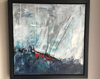Abstract canvas, sailboat, frame inclued, seascape, blue and red painting, IKOUart, Contemporary art, Isabelle Couture, abstract art, canvas