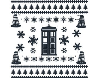 Police Box Ugly Christmas Sweater SVG Digital Download Cut File
