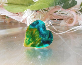 Hand made green yellow heart shaped, Silver 925, Gold-plated adjustable ring, Jewelry, liquid glass