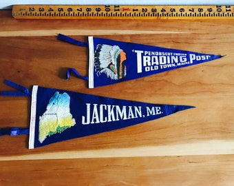 Authentic Vintage Souvenir Flags, Felt Flag Pennants