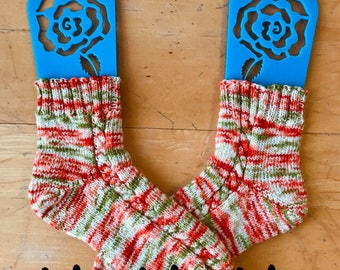 """Free Shipping! """"Ho Ho Ho"""" Hand dyed to order on yarn base of your choice. Christmas colors of green, red, and ivory"""