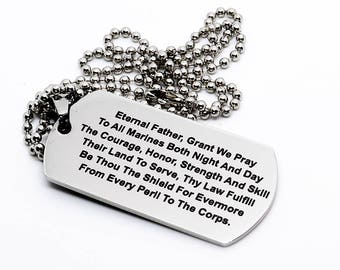 Dog Tag, Military Style Dog Tag, Stainless Steel Dog Tag, Jewelry Dog Tag, Personalized Dog Tag, Military Style Jewelry, Eternal Father