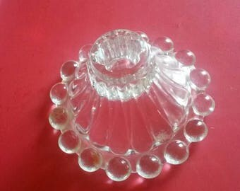 3 Glass scalloped ridged bottom candle holders