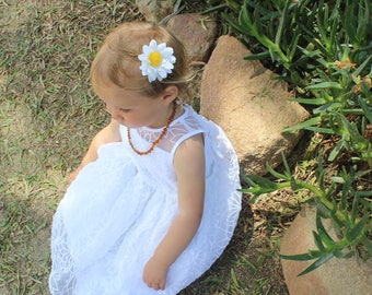 Single Daisy Clip - Daisy Headband - Baby Girl - Toddler Girl - Summertime bow - Flower crown - Floral crown - Summer bow - Mommy and Me