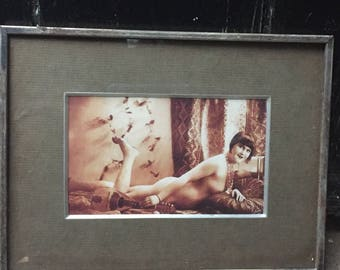 "Antique/Vintage Framed 1930""s 1940's Risque Photogravure Print 6.5"" x 8.5"""