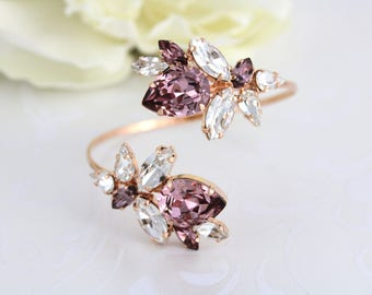 Rose gold bracelet, Bridal bracelet, Bridal jewelry, Cuff bracelet, Blush crystal bracelet, Swarovski bracelet, Statement Wedding bracelet