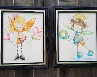 "Fairy Watercolour Wall Art,8""x10"",Original Painting, Set of 2, Orange/Blue/Pink Nursery Art,Fairy Wall Art,Kids decor,Girl Bedroom Decor"