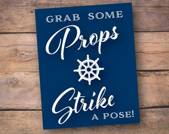 8x10 Nautical Photo Booth Prop Sign - Set of 2