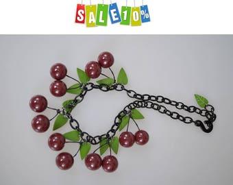 Vintage Red-ripe cherry fruit massive necklace