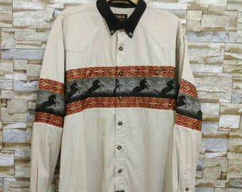 MEGA SALE Vintage Rodeo Line Shirt Long Sleeve Western Texas Cowboy Lee Wrangler Rodeo Carte