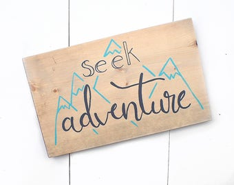 Wood Sign, Nursery Decor, Rustic Decor, Seek Adventure, Mountain Sign, Adventure Decor, Wood Mountain Sign, Kids Decor, Playroom Decor