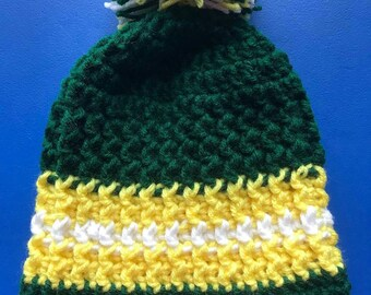 Crochet Hat- Winter Hat- Toddler Hats- Green Bay Packers- Beanies- Team Colors- Knit Stocking Cap- Kids Hats- Knit Hat- Kids Knit Hat- Pom