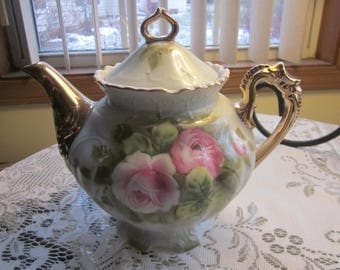 1960's Lefton China 792 Heritage Green Pink Roses Teapot in Original Box never used!